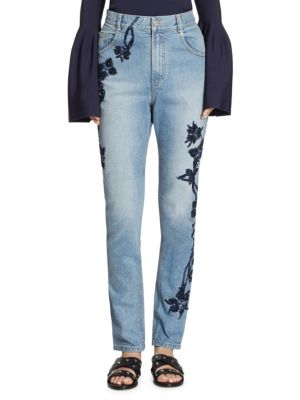Embellished High-Rise Stove Pipe Jeans