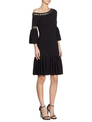 Chainlink Knit Fit-and-Flare One Shoulder Bell Sleeve Dress