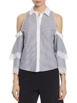 Cold-Shoulder Ruffle Sleeve Oxford Shirt by Jonathan Simkhai