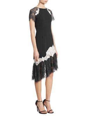 Asymmetrical Lace-Trim Sheath Dress