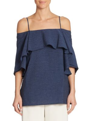 Cold-Shoulder Ruffle Top by Halston Heritage