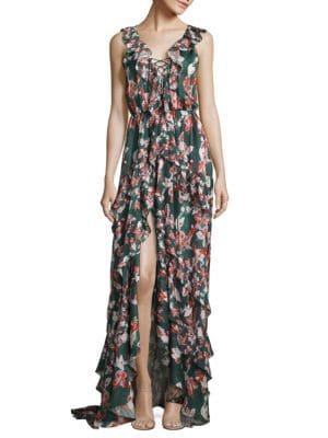 Floral Ikat Oksana Silk Gown
