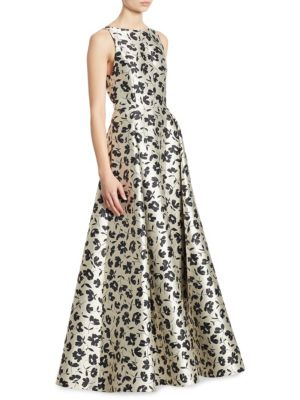 Drea Floral-Print Pleated A-Line Gown