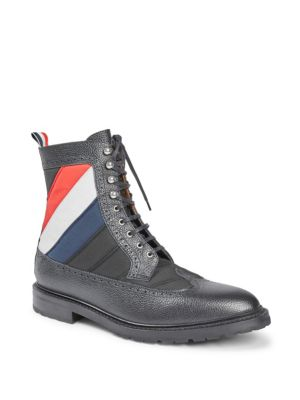 Thom Browne Quilted Nylon Longwing Pebble Grained Brogue Boots huuqG