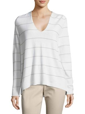 Striped V-Neck Pullover