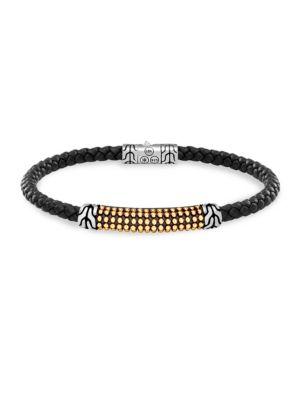John Hardy Mens Classic Chain Braided Leather Jawan Bracelet wxGmzo
