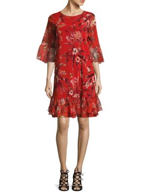 Hummingbird Bell Sleeve Silk Dress