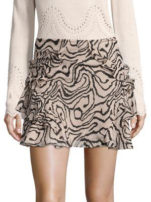 Ruffled Silk Mini Skirt