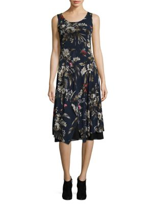 Hummingbird-Print A-Line Dress