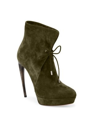 Curved Heel Suede Lace-Up Booties
