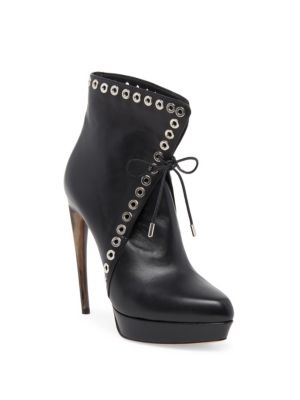 Curved Heel Studded Leather Lace-Up Booties