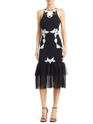 Corded Lace Racerback Crepe Midi Dress