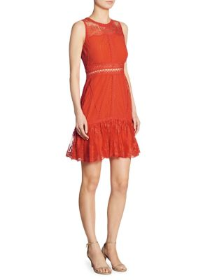 Scalloped Ripple Tier Ruffle Lace Dress