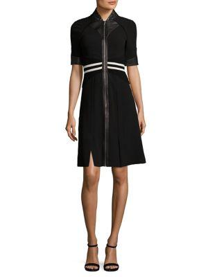 Zip-Front Striped Dress