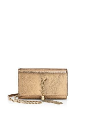 Kate Monogram Metallic Tassel Chain Wallet