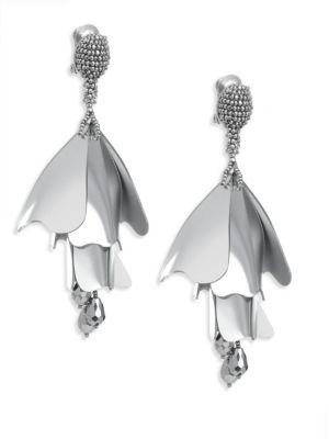 Impatiens Flower Metallic Clip-On Earrings