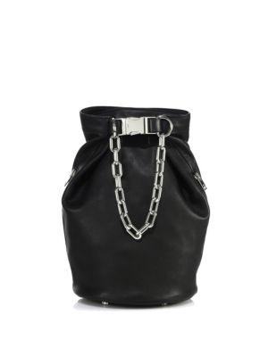 ATTICA BLACK NAPPA SOFT DRY BUCKET BAG W-BALL-CHAIN