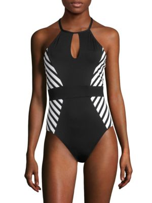 One-Piece Striped Swimsuit
