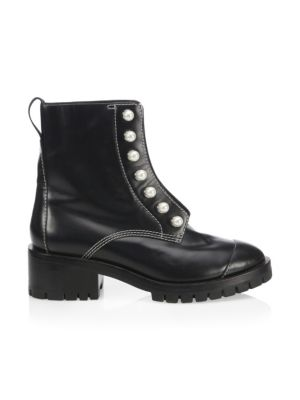Hayett Faux Pearl Leather Combat Boots