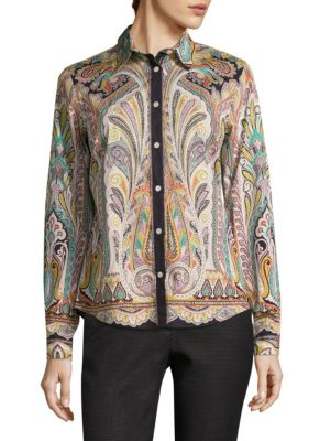 Paisley Button-Front Shirt by Etro