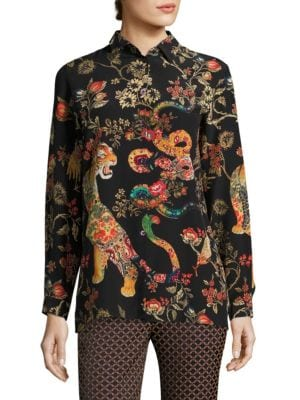 Tiger-Print Silk Blouse