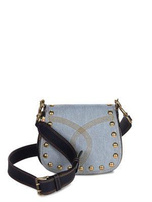 Small Nomad Studded Denim Saddle Bag