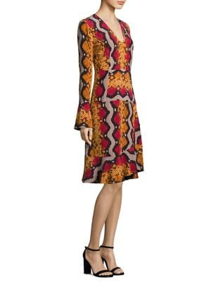 Snake-Print Bell Sleeve Silk Dress