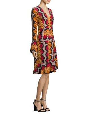 Buy Etro Snake-Print Bell Sleeve Silk Dress online with Australia wide shipping