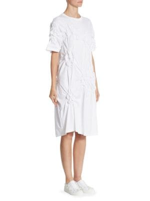 Flower-Smocked Poplin T-Shirt Dress
