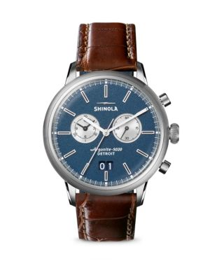 SHINOLA Limited Edition Great American The Jackie Robinson Stainless Steel & Leather Strap Watch