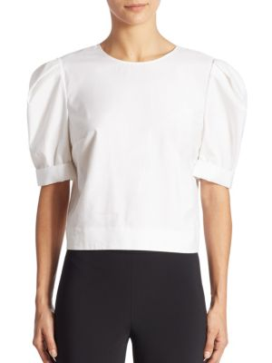 Puff Sleeve Cotton Top by Adam Lippes