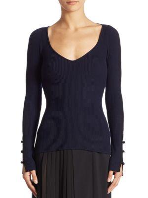 Open Back Rib-Knit Merino Wool Top