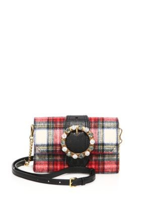 Jeweled Plaid Wool Crossbody/Belt Bag