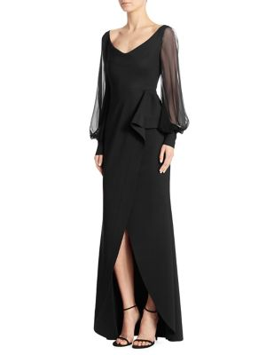 Rosellina Georgette Long Sleeve Gown