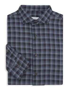 Tonal Wool Plaid Button-Down Shirt