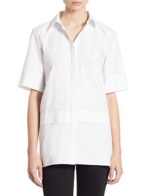 Mendy Double-Layer Cotton Poplin Shirt by Alice + Olivia