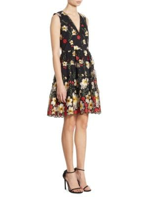 Buy Alice + Olivia Becca Embroidered Scalloped Dress online with Australia wide shipping