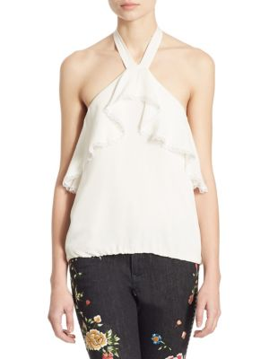 Monet Ruffled Silk Halter Top by Alice + Olivia