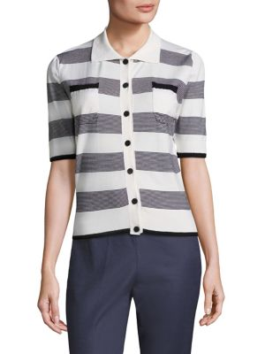 Striped Point Collar Shirt