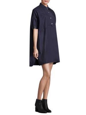Elliptical Hem Cotton Shift Dress