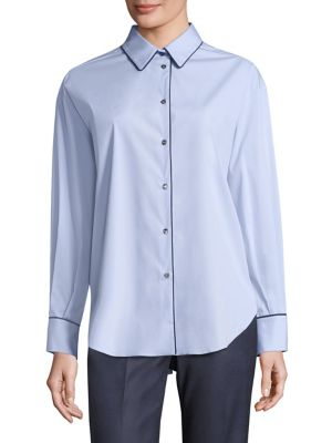 Pipe-Trim Button-Down Shirt by Piazza Sempione