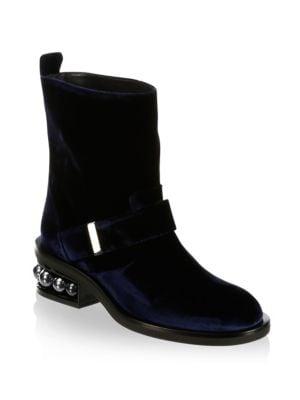 Casti Pearl-Heel Velvet Biker Boots