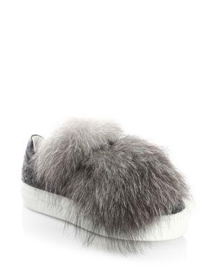 Fox Fur & Leather Sneakers
