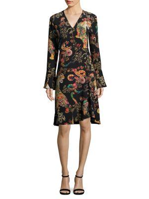 Silk Bell Sleeve Dress