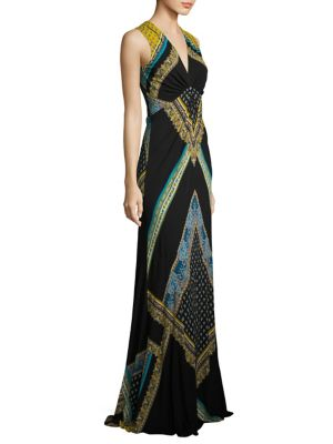 Scarf-Print Jersey Gown