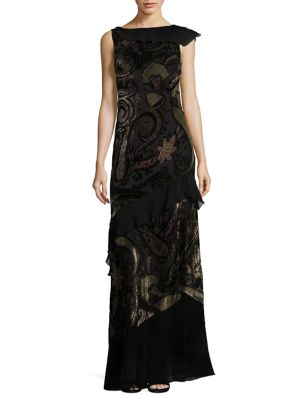 Velvet Backless Paisley Gown