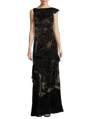 Velvet Backless Paisley Gown