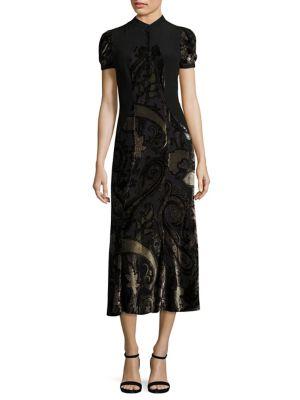 Velvet Paisley-Print Dress