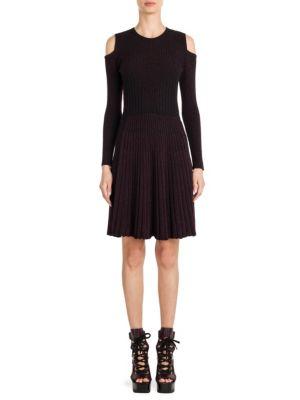 Knit Cold Shoulder Fit-&-Flare Dress