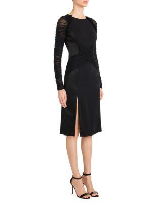 Tulle Sleeve Cross-Front Sheath Dress